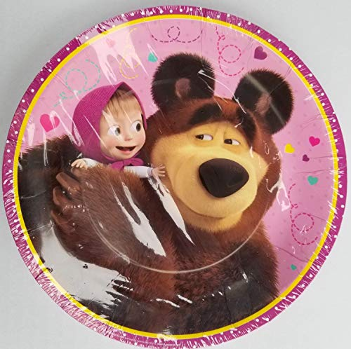 Gmark Masha and The Bear Party Plates Paper Disposable Birthday Favors Decoration Partyware Dishware 7 in Pack of 6