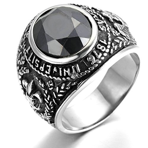 [Stainless Steel Ring for Men, Fleur De Lis Ring Gothic Black Band 24*24 Size 8 Epinki] (Lion Costume Philippines)