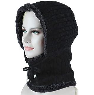 Freesiom Bonnet Echarpe Hiver Unisexe Homme Femme Chaud Tricote Velours  Coton Doux Polaire Fantaisie Swag Mode 58affdae631