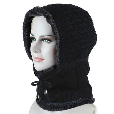 300ab1cfc7f Freesiom Bonnet Echarpe Hiver Unisexe Femme Chaud Tricote Velours Coton  Doux Polaire Fantaisie Swag Mode Fashion