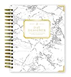 Day Designer 2019-2020 Daily Life Planner and Agenda, Hardcover, Twin-Wire Binding, 9'' x 9.75'', White Marble
