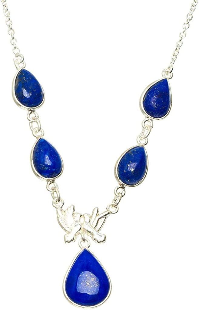 Natural Lapis Lazuli And Citrine Handmade 925 Sterling Silver Pendant 1.75 D1705