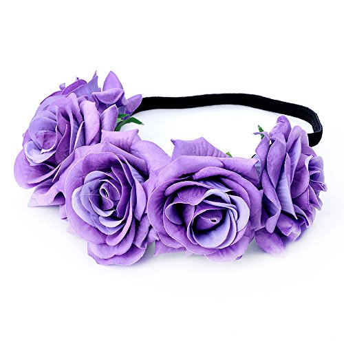 Light Pink Purple Cream Peony Flower Garland Headband Hair Crown Bridesmaid 2676
