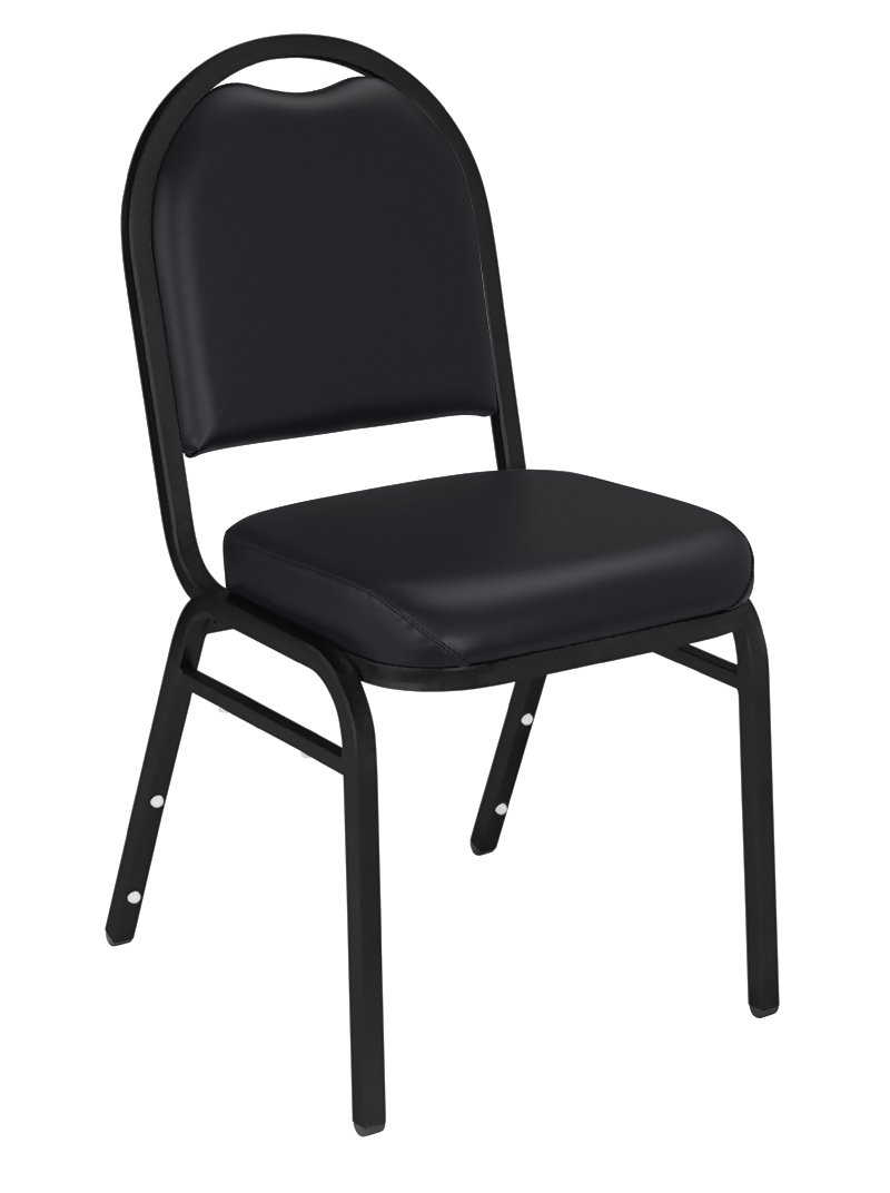 NPS 9210-BT-CN Vinyl-upholstered Dome Back Stack Chair with Steel Black Sandtex Frame, 300-lb Capacity, 18'' Length x 20'' Width x 34'' Height, Black (Carton of 4)