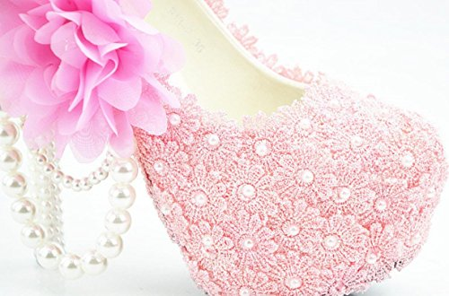 YCMDM Donne Hgh Tacchi rotondo di nozze singoli pattini pizzo rosa cipria fiori damigella d'onore Nightclub Shoes , 5 cm with high reservation , 43
