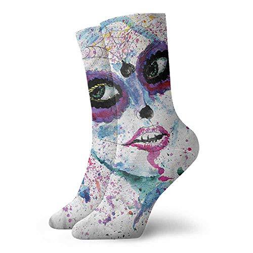 Super elastic socks Girls,Halloween Lady Make Up 3.4