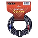 ATNY GC-15GR Guitar Cable 15 ft, Premium Electric Instrument Bass Cable AMP Cord 1/4 Straight to Straight