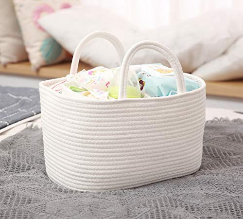 Cotton Rope Baby Diaper Caddy with Removable Divider, Nursery Storage Organizer for Diapers and Wipes, Portable Stroller and Car Tote Bag for Newborn Infants Toddlers, Travel Nursery Organizer White ()