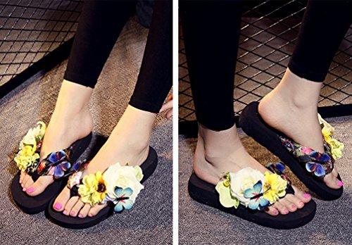YOUJIA Mujeres Boho Flores Chanclas Verano Playa Zapatos de cuña Plataforma Zapatillas #1 Negro