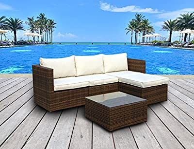 The Emerald Bay Collection - 5 Pc Outdoor Rattan Wicker Corner Chaise Sofa Sectional Patio Furniture Set. Choice of Set & Cushion Color