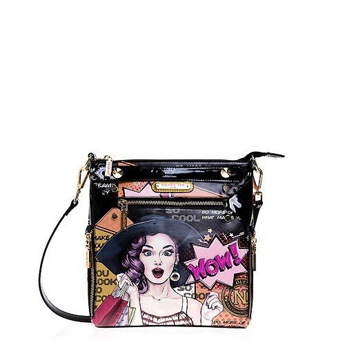 Nicole Lee Collection Handbags Wallets Backpacks WOW! IT'S LUCY Purses Girls Pop Art Satchel Bags Black (Cross Body Bag) (Nicole Lee Handbags And Purses)
