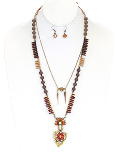 FB Jewels Solid Southwestern Necklace And Earring Set Aurora Bead With Faceted Lucite Bead