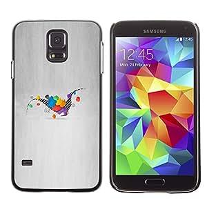 KLONGSHOP // Cubierta de piel con cierre a presión Shell trasero duro de goma Protección Caso - Dinosaurio Geometría - Samsung Galaxy S5 //