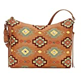 American West Women's Adobe Allure Zip-Top Shoulder Bag Tan One Size