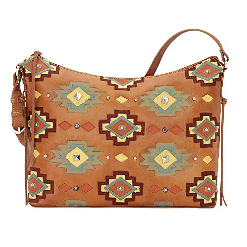 American West Women's Adobe Allure Zip-Top Shoulder Bag Tan One Size by American West