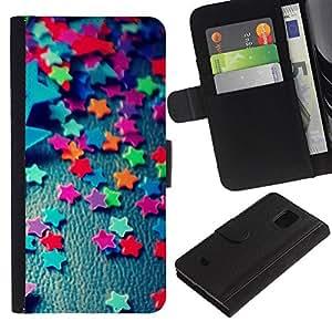 KingStore / Leather Etui en cuir / Samsung Galaxy S5 Mini, SM-G800 / Estrellas del caramelo de la decoración de la fiesta Dise?o colorido