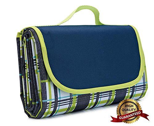 AIOLOC Large Picnic Blanket Dual Layers Outdoor Waterproof Handy Mat Tote Spring Summer Camping on Grass,Beach Blanket Sandproof Plaid Green by AIOLOC