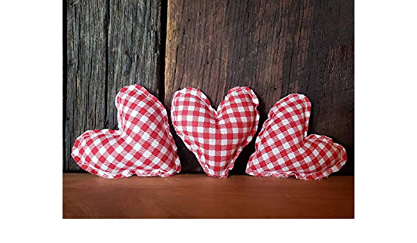 Primitive Heart Heart Ornament Buffalo Plaid Farmhouse Heart Valentine Day bowl filler Fabric Heart Buffalo Check Valentines Ornament Valentines Day Ornaments Valentine Ornaments