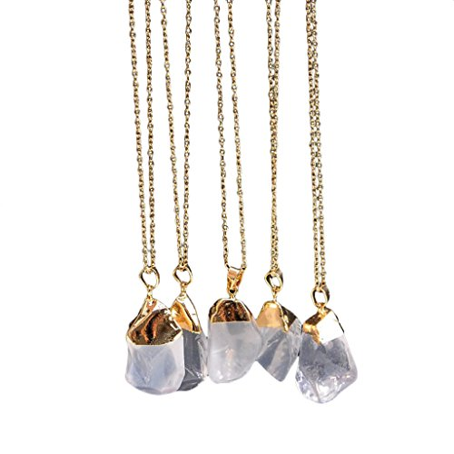 1PC Natural Stone Crystal Rock Necklace Gold Plated Quartz Pendant ()