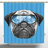 AfagaS Multicolor Shower Curtain,Pug,Pug Portrait with Mirror Sunglasses Hand Drawn Illustration of Pet Animal Funny,Pearl Blue Black,Polyester Fabric Bathroom Shower Curtain Set with Golden Hooks