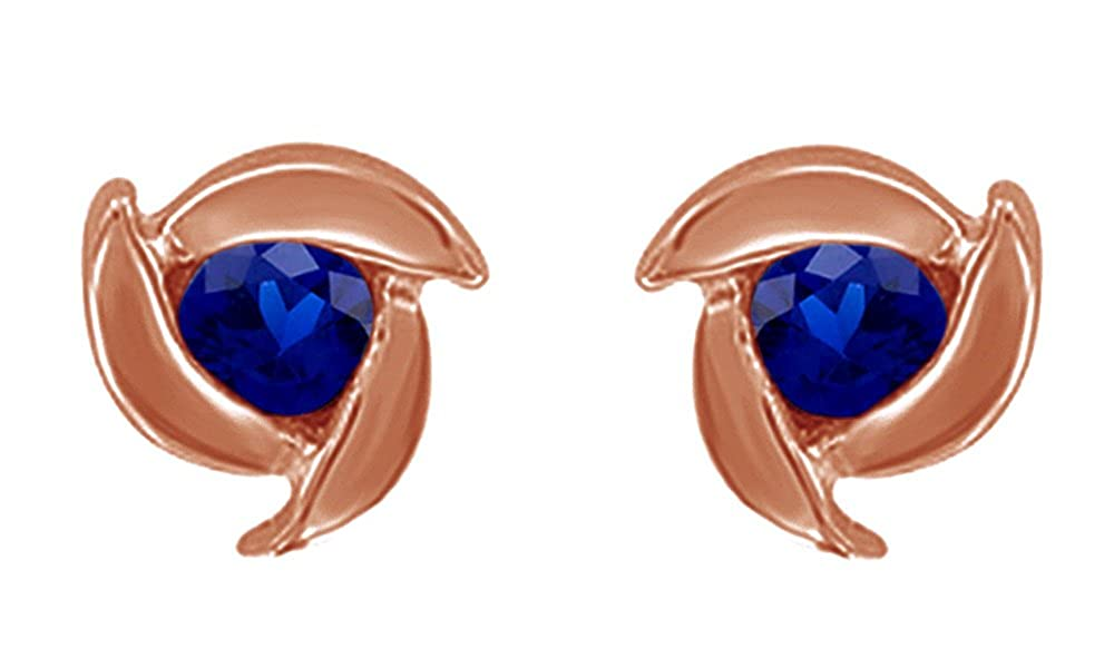 Simulated Blue Sapphire Rose Stud Earrings 14K Rose Gold Over Sterling Silver