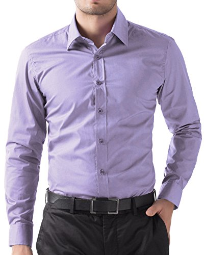 Paul Jones Men's Solid Dress Shirt Long Sleeve Button Casual Shirt Lavender -