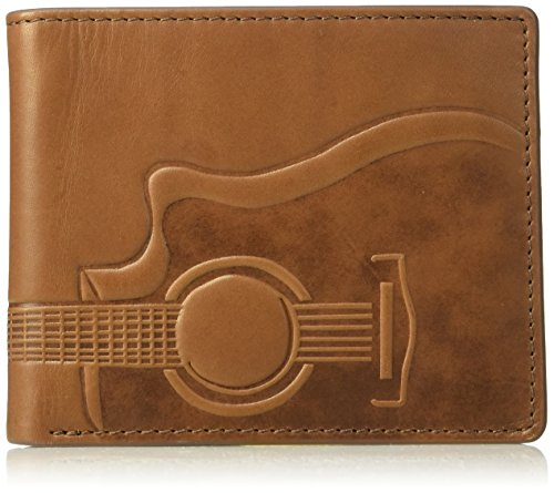 Fossil Men's Nash Rfid Embossed Guitar Leather Bifold With Flip Id Wallet, cognac, One Size