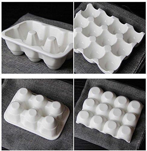 leoyoubei Pretty Ceramic Egg Plate, Kitchen Restaurant Fridge Storage and Cookable Egg Porcelain Decorative Crate White (6 lattice egg holder) by leoyoubei (Image #2)