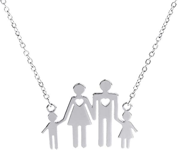 Stainless Steel Family Children Parents Pendant Necklace Mom Dad Son Daughter