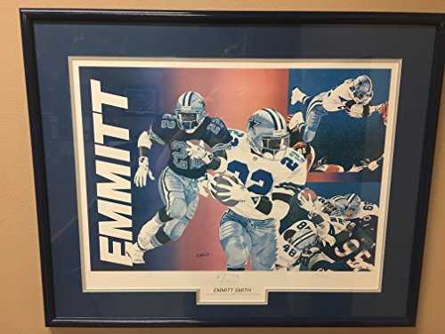 RARE Artist Vernon Wells Signed Photo of Dallas Cowboy Emmitt Smith #22 Signed Custom Framed 28x34 Limited Edition 264/750 Art LE COA