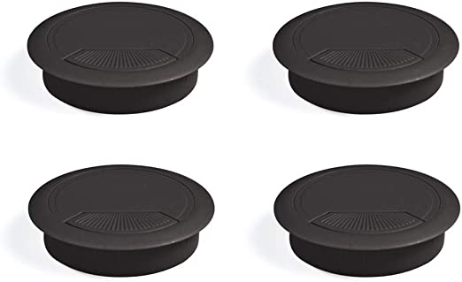 EMUCA - Pasacables de Mesa Circular Ø80mm de plástico Negro, Tapa ...
