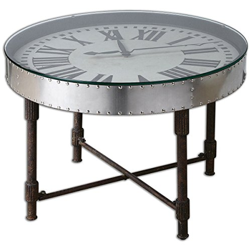 Uttermost 24321 Cassem Clock Table, Silver