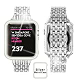 Ezzdo Diamond Bands For Apple Watch, Rhinestone Luxury Diamond Silver Stainless Steel Replacement Bracelet For Women With Case For Iwatch 38mm 42mm series 1/2/3 (Silver, 38mm)