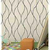 HaokHome 630601 Modern Chevron Stripe Peel and Stick Wallpaper Rock Beige/Black/Silver Self Adhesive Contact Paper