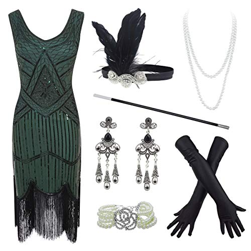 20s Flapper Gatsby Sequin Beaded Evening Cocktail Dress with Accessories Set (X-Large, Green)