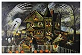 Northlight Small Creepy Haunted House Canvas Wall Art, Black