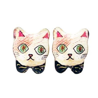 Pendientes de Gato Aretes de Elegante Aretes de Retro para Pendientes Hechos a Mano para Las Niñas de los Mujer el Accesorios-Negro: Amazon.es: Joyería
