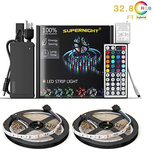 NEW 2018 LED Strip Lights Kit Non-waterproof– 32.8ft (10M) 600 LEDs SMD 3528 RGB Light with 44 Key Remote Controller, Extra Adhesive Tape, Flexible Changing Multi-Color Lighting Strips for TV, (Manual Main Kit)