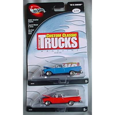 Hot Wheels 100% Custom Classic Trucks Magazine '59 El Camino 1/4 RED & BLUE: Toys & Games