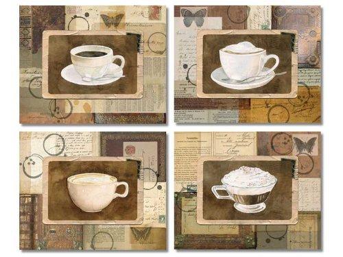 Cafe Postcard (Vintage Coffee Collage-style Prints; Retro Americano, Latte, Cappuccino, & Eiskaffee; Four 10x8 Prints)