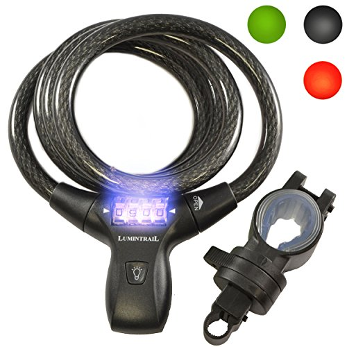 Lumintrail LK21051 Bike Bicycle Combination Cable Lock with LED Illumination & Mounting Bracket, Military Grade Braided Steel & Components. Comes with Our (Black)