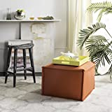 Safavieh Mercer Collection Elaine Ottoman, Burnt Orange