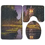 ohio state ticket frame - LinkHomeie Idyllic Scenery At Night With A Stone Lantern Fireflies And Forest Trees Swamp Durable 3 Piece Bathroom Mat Set