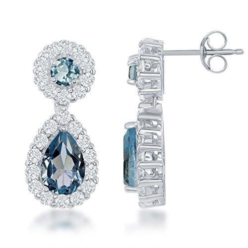 Sterling Silver Natural Blue & White Topaz Circle w/ Teardrop Post/Stud Earrings