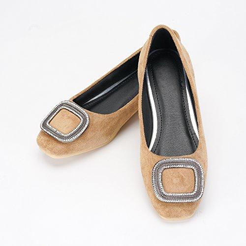 OCHENTA Zapatillas Planas de Terciopelo Suave Confort Para Mujer con Cordones Planos EN Zapatillas de Ballet Caqui