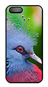 Protective PC Case Skin for iphone 5 Black PC Case Back Cover Shell for iphone 5S with Victoria Crowned Pigeon