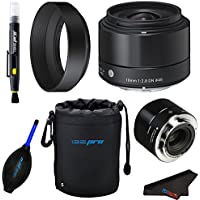 Sigma 19mm f/2.8 DN Lens for Sony E-mount Cameras (Black) + Pixi-Basic Accessory Bundle