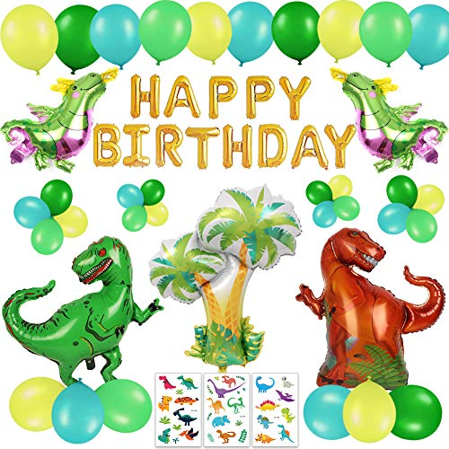 63 PACK Dinosaur Birthday Party Decorations for Kids - 3D Gold Happy Birthday Banner, Colorful Dino Balloons, Cute Cartoon Tattoos | Aster Birthday Supplies Set for 1st 2nd 3rd 4-12 year boys -
