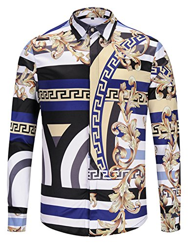 Fitted Silk Jersey Dress - PIZOFF Mens Long Sleeve Luxury Gold Floral Print Dress Shirt Y1792-32-L