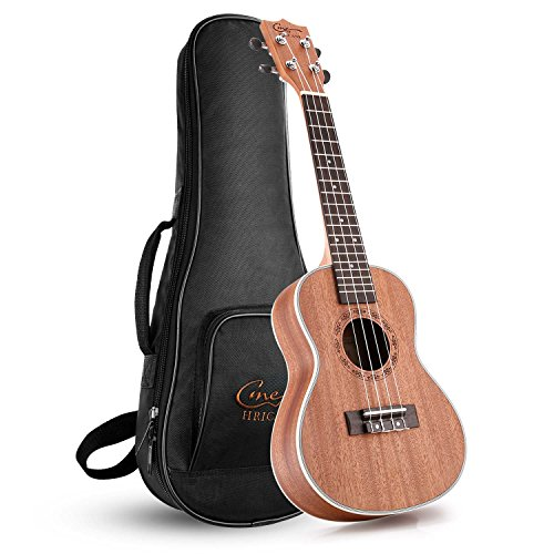 Hricane Concert Ukulele 23 inch UKS-2, 4 Strings Ukeleles For Beginners, Sapele Hawaiian Ukele with Ukulele Case and Ukele String Set